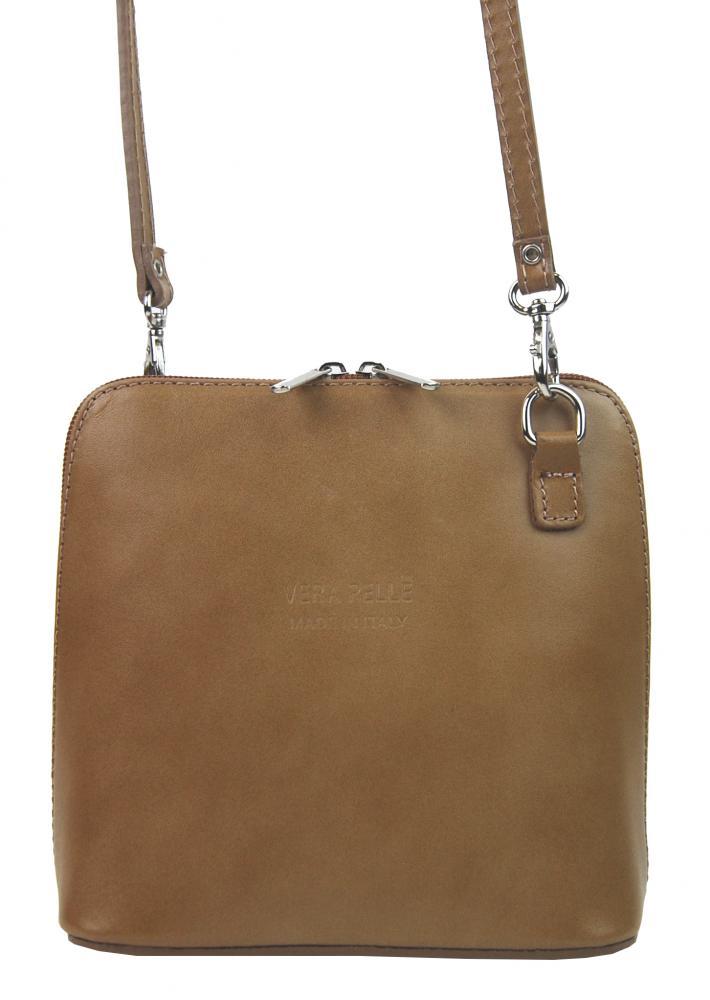 Kožená malá dámská crossbody kabelka přírodně hnědá TR923