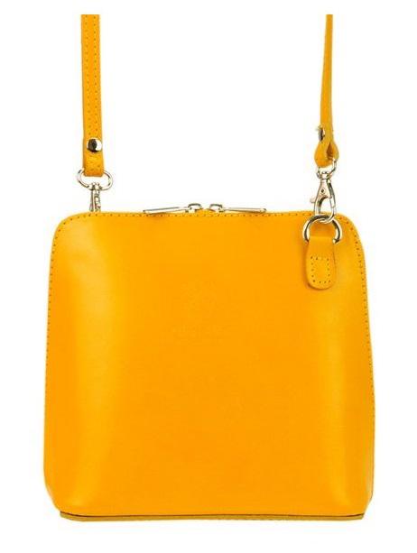 Kožená malá dámská crossbody kabelka žlutá TR923