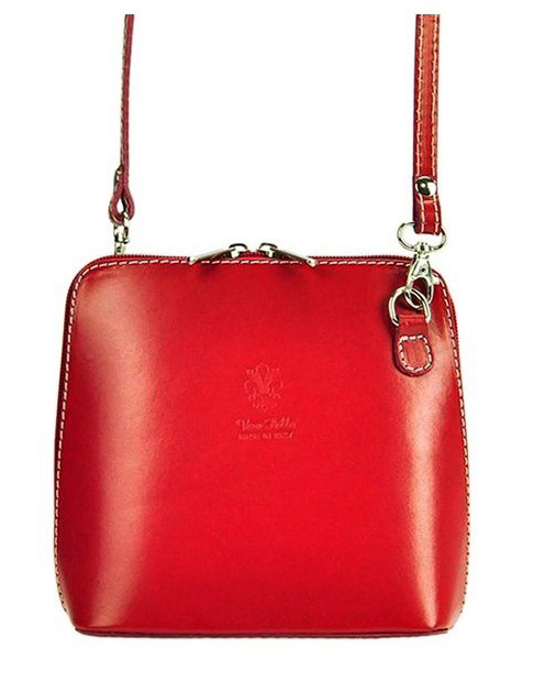 Kožená malá dámská crossbody kabelka červená TR923