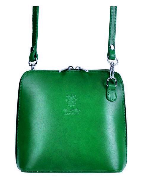 Kožená malá dámska crossbody kabelka zelená