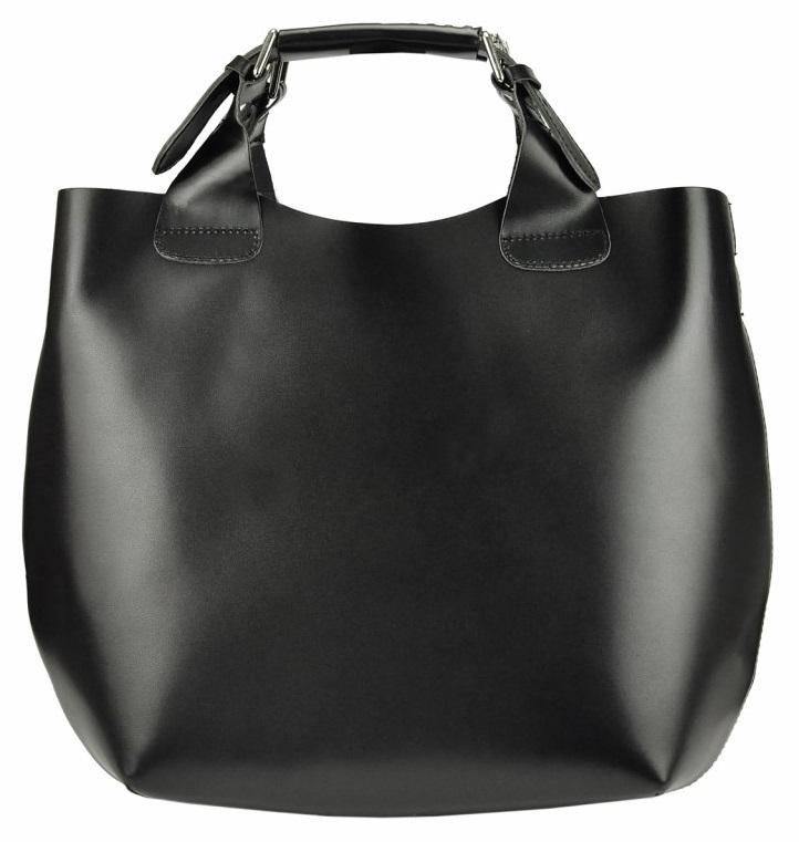 Velká černá kožená dámská shopper kabelka