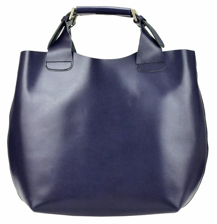 Velká modrá kožená dámská shopper kabelka