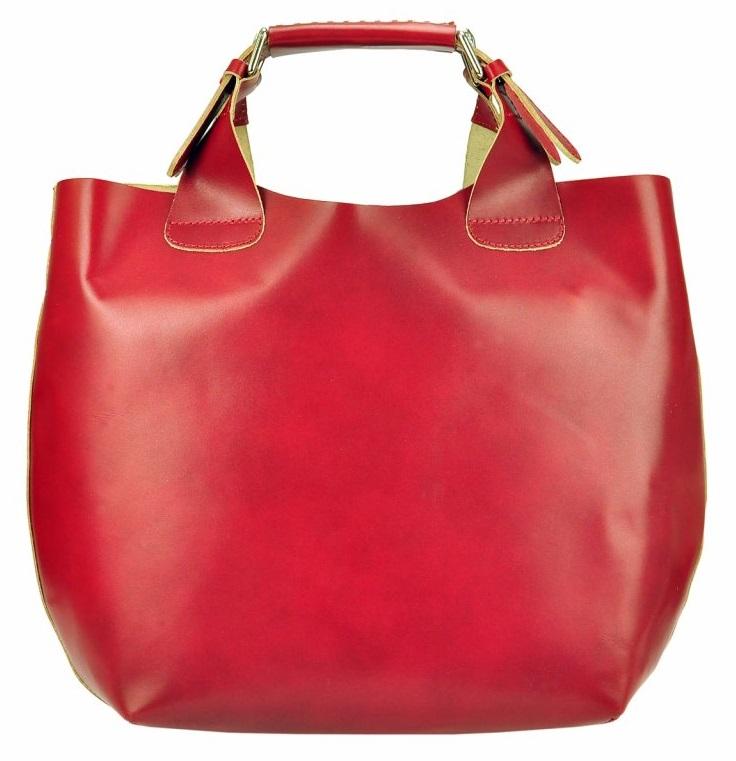 Veľká červená kožená dámska shopper kabelka
