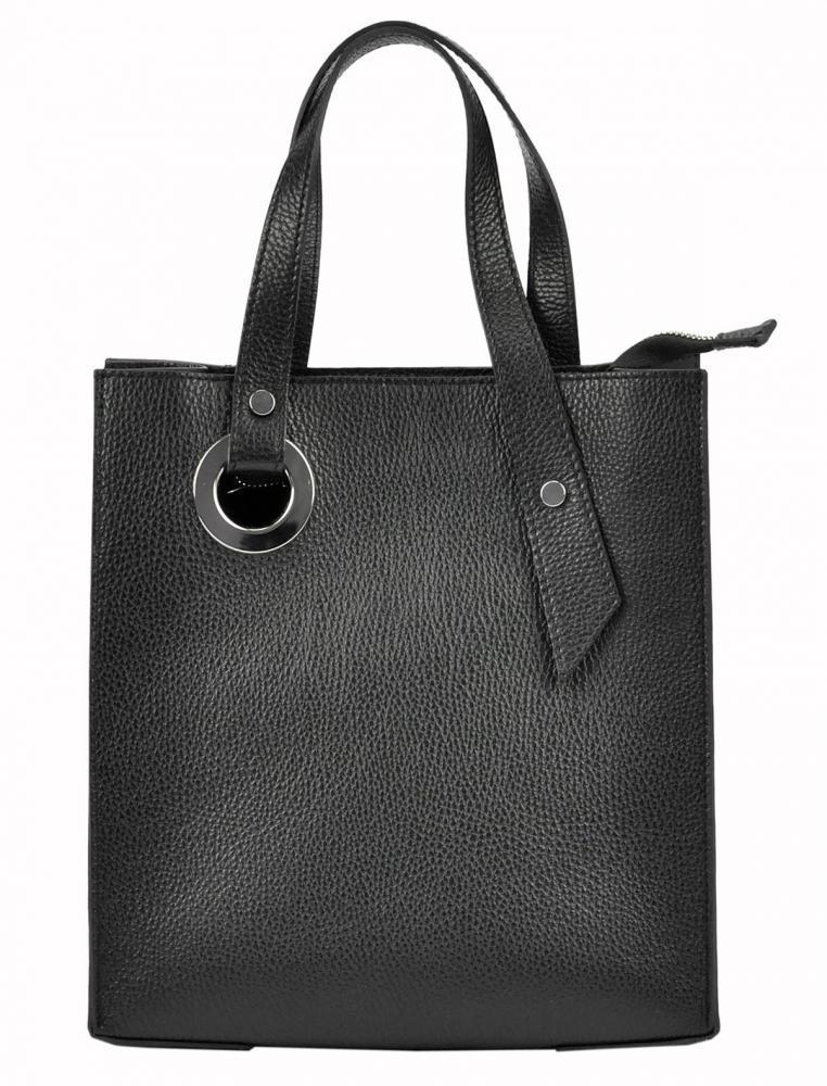 Kožená černá obdélníková dámská kabelka do ruky