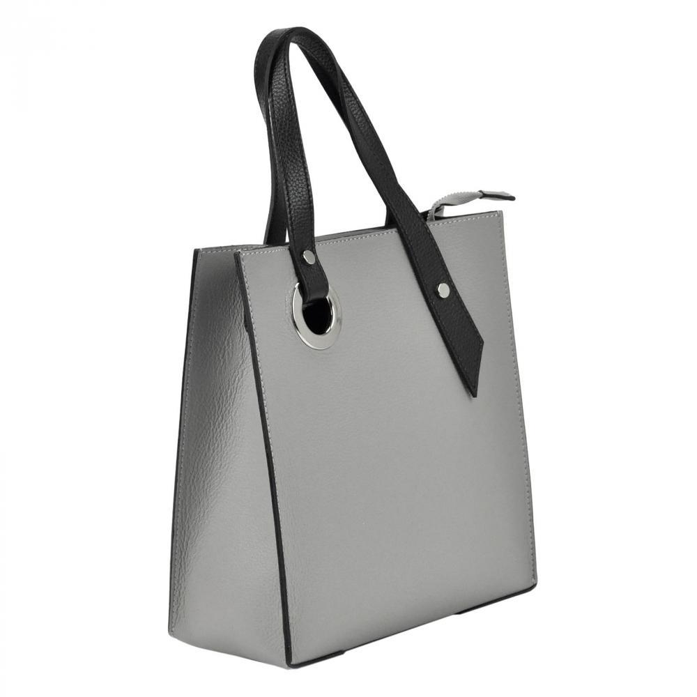 Kožená čierna obdĺžniková dámska kabelka do ruky