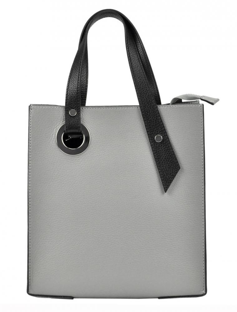 Kožená středně šedá obdélníková dámská kabelka do ruky