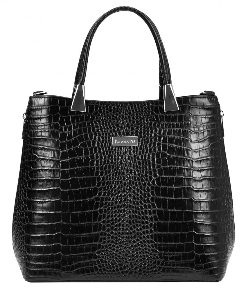 Kožená čierna moderná kroko dámska kabelka Patrizia Piu