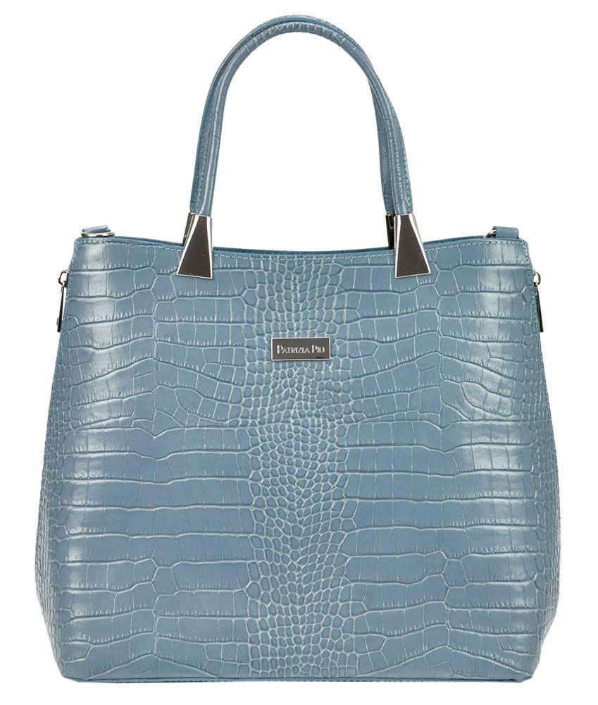 Kožená modrá moderná kroko dámska kabelka Patrizia Piu