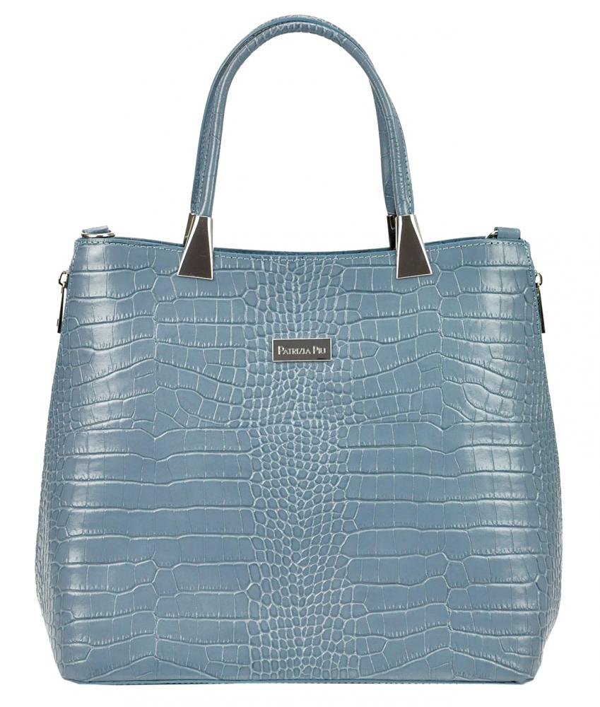 Kožená modrá moderní kroko dámská kabelka Patrizia Piu