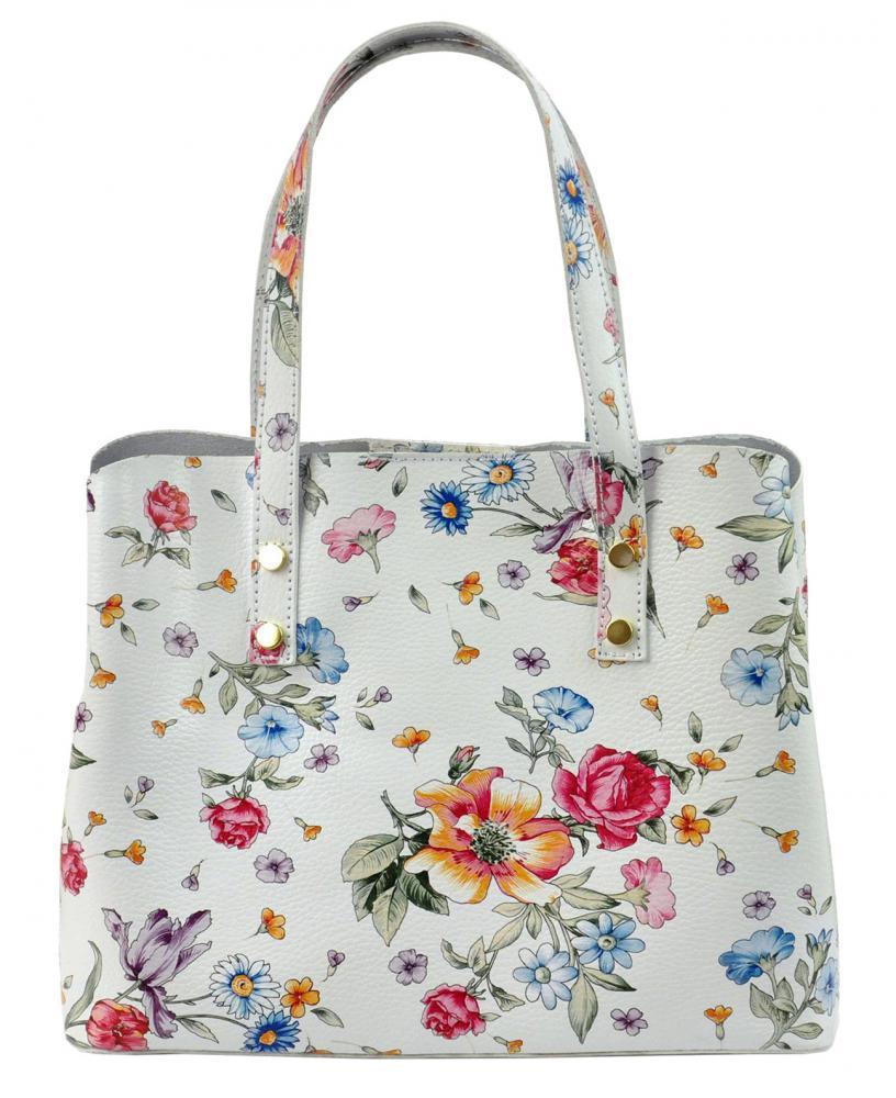 Kožená biela dámska kabelka s kvietkami do ruky Florencia