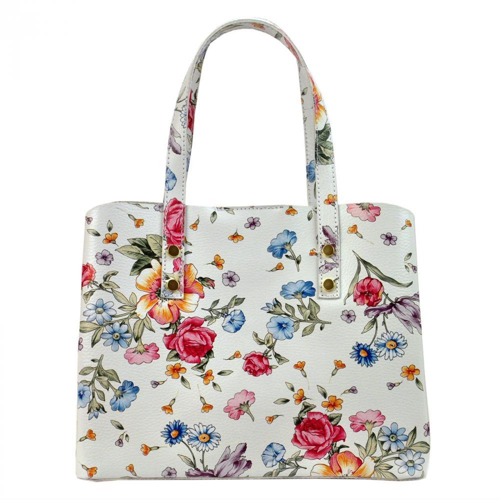 Kožená bílá dámská kabelka s kvítky do ruky Florencie