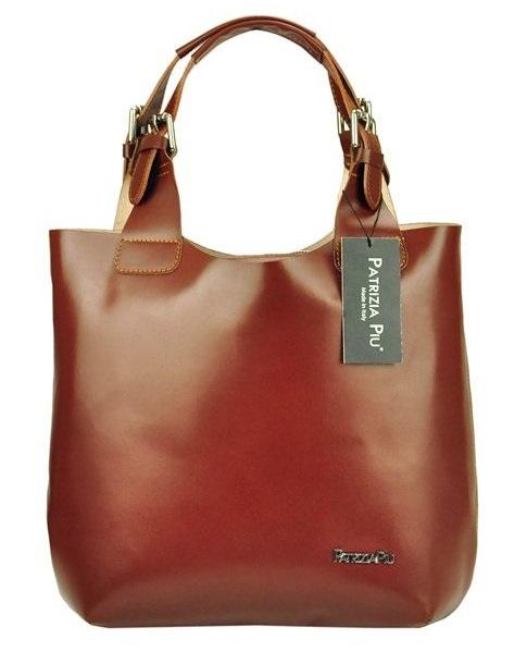 Hnedá kožená dámska kabelka Patrizia Piu