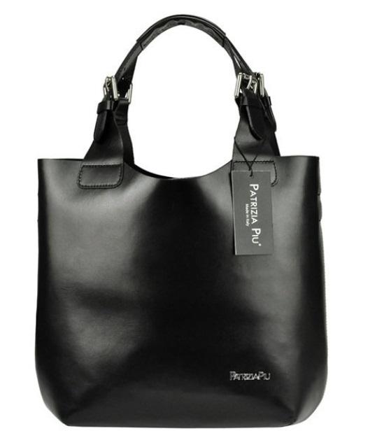 Černá kožená dámská kabelka Patrizia Piu