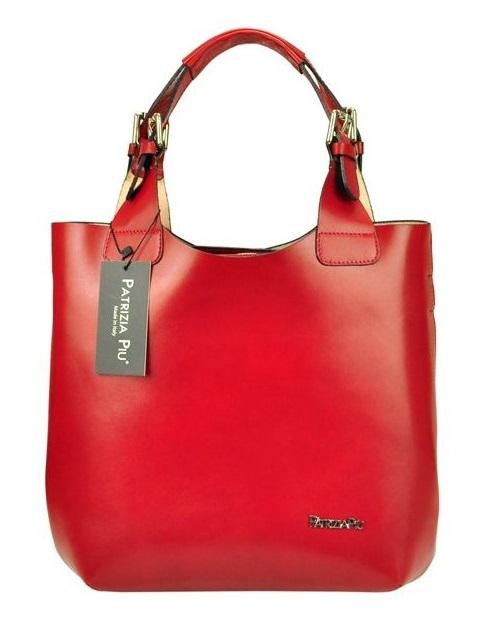 Červená kožená dámska kabelka Patrizia Piu