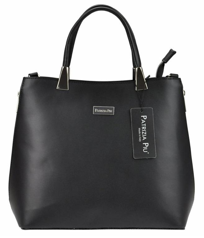 Čierna moderná kožená dámska kabelka Patrizia Piu
