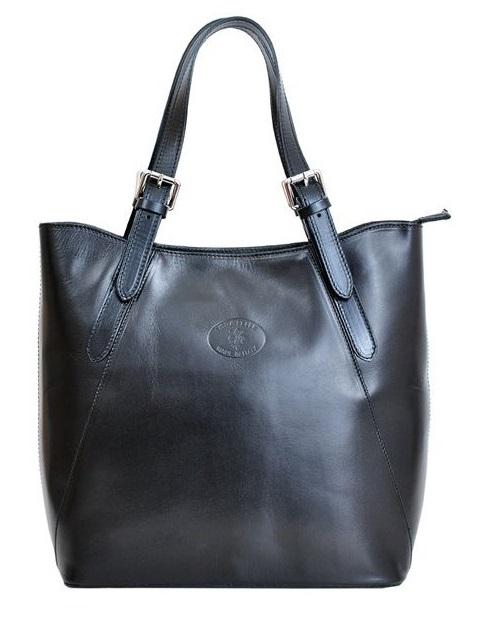 Velká černá kožená dámská kabelka přes rameno