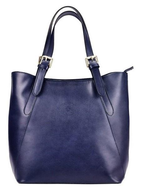 Veľká modrá kožená dámska kabelka cez rameno