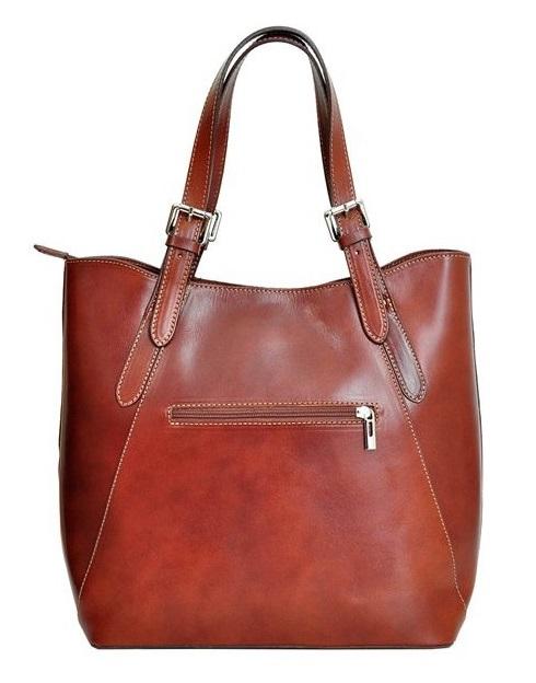 Velká koňaková kožená dámská kabelka přes rameno