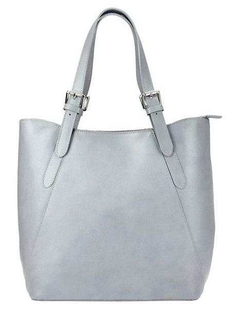Veľká svetlo sivá kožená dámska kabelka cez rameno