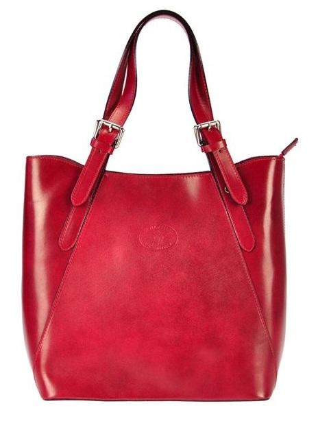 Veľká červená kožená dámska kabelka cez rameno