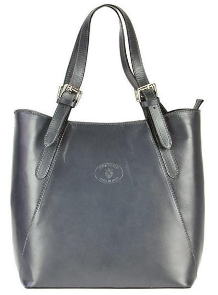Veľká šedá kožená dámska kabelka cez rameno