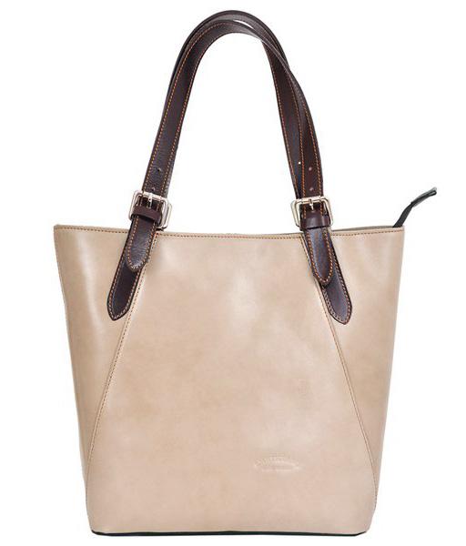 Velká béžová kožená dámská kabelka s hnědými uchy L Artigiano
