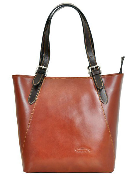 Velká hnědá kožená dámská kabelka přes rameno L Artigiano s tmavě hnědými uchy
