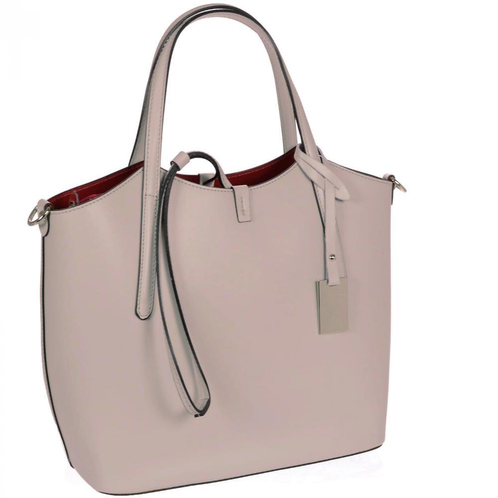 Kožená moderná dámska kabelka púdrová ružová