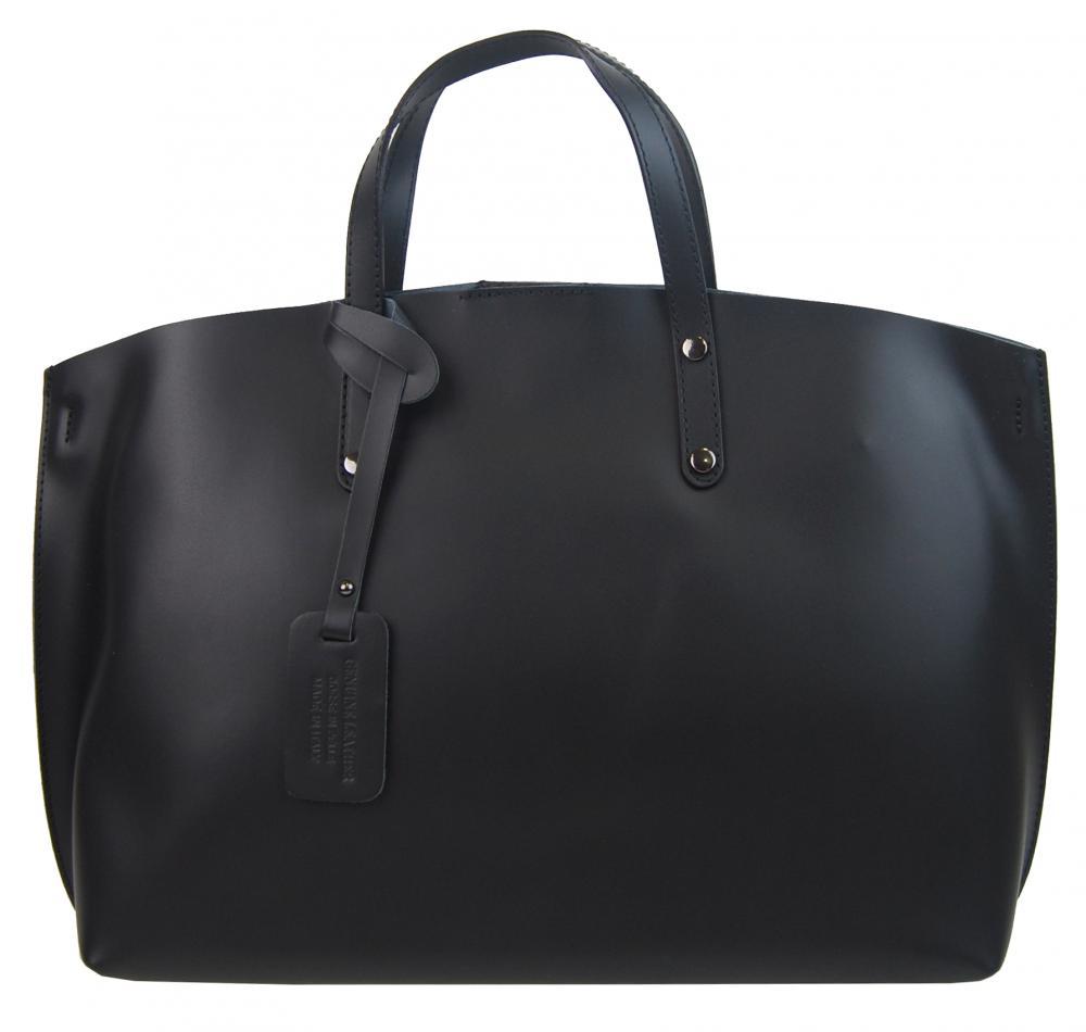 Veľká čierna kožená dámska kabelka Casilda