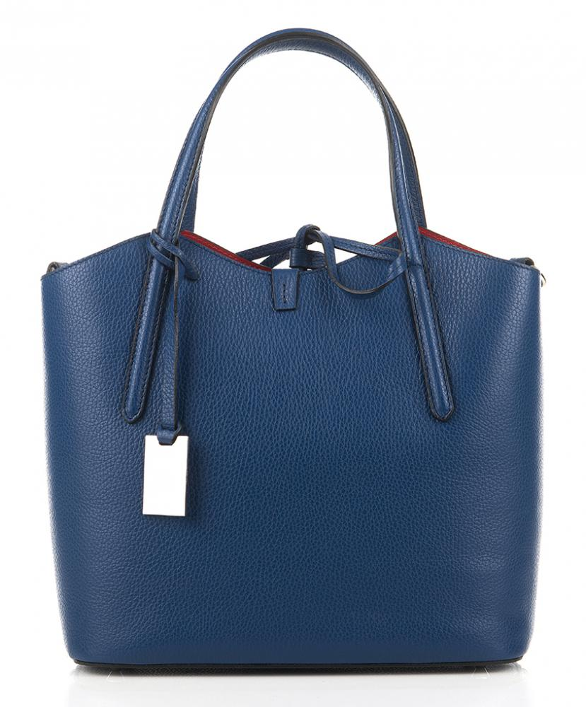 Kožená talianska dámska kabelka modrá First Lady + protiprachový sáčok