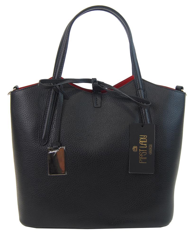 Kožená talianska dámska kabelka čierna First Lady + protiprachový sáčok
