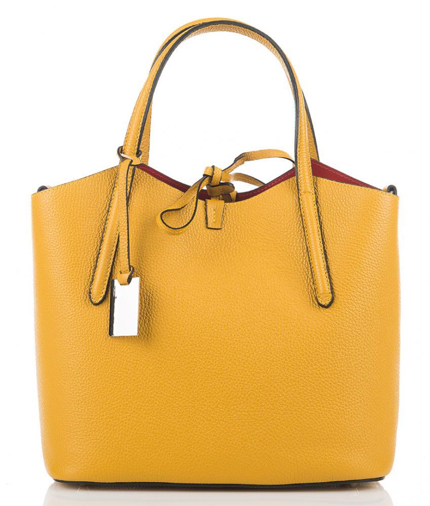 Kožená talianska dámska kabelka horčicová žltá First Lady + protiprachový sáčok