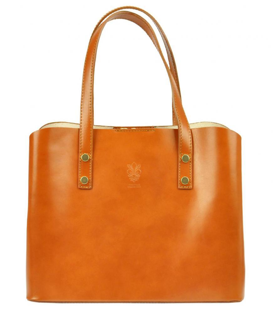 Kožená camel hnedá dámska kabelka do ruky Florencia