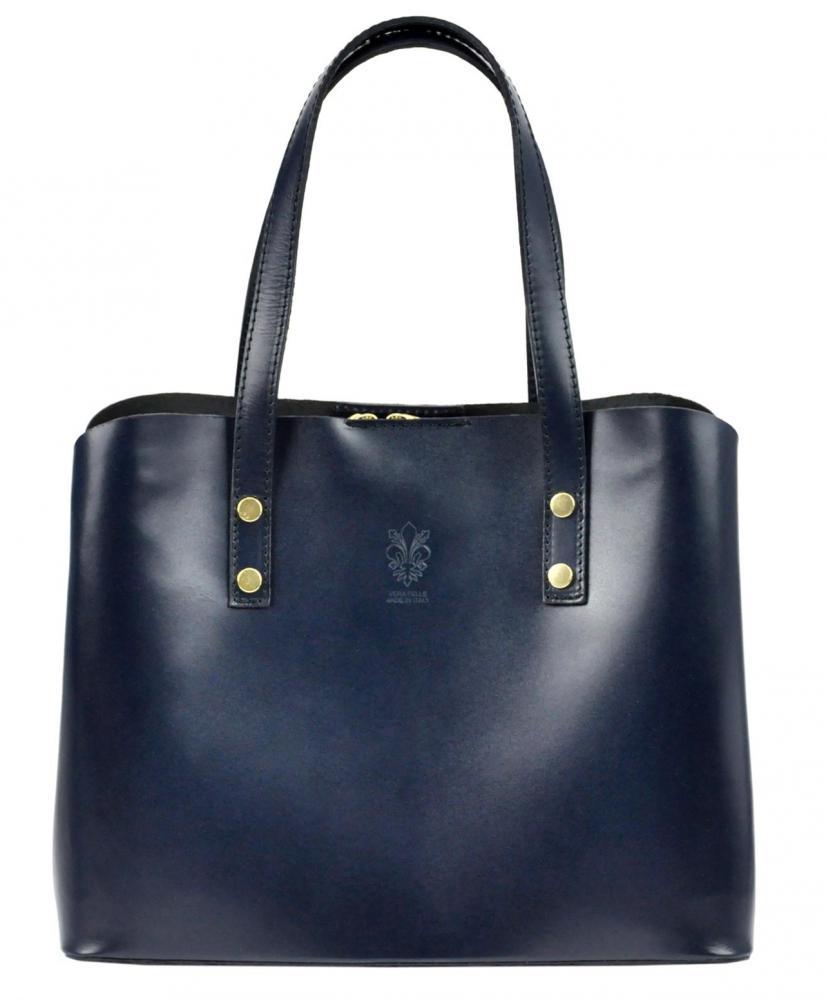 Kožená modrá dámska kabelka do ruky Florencia