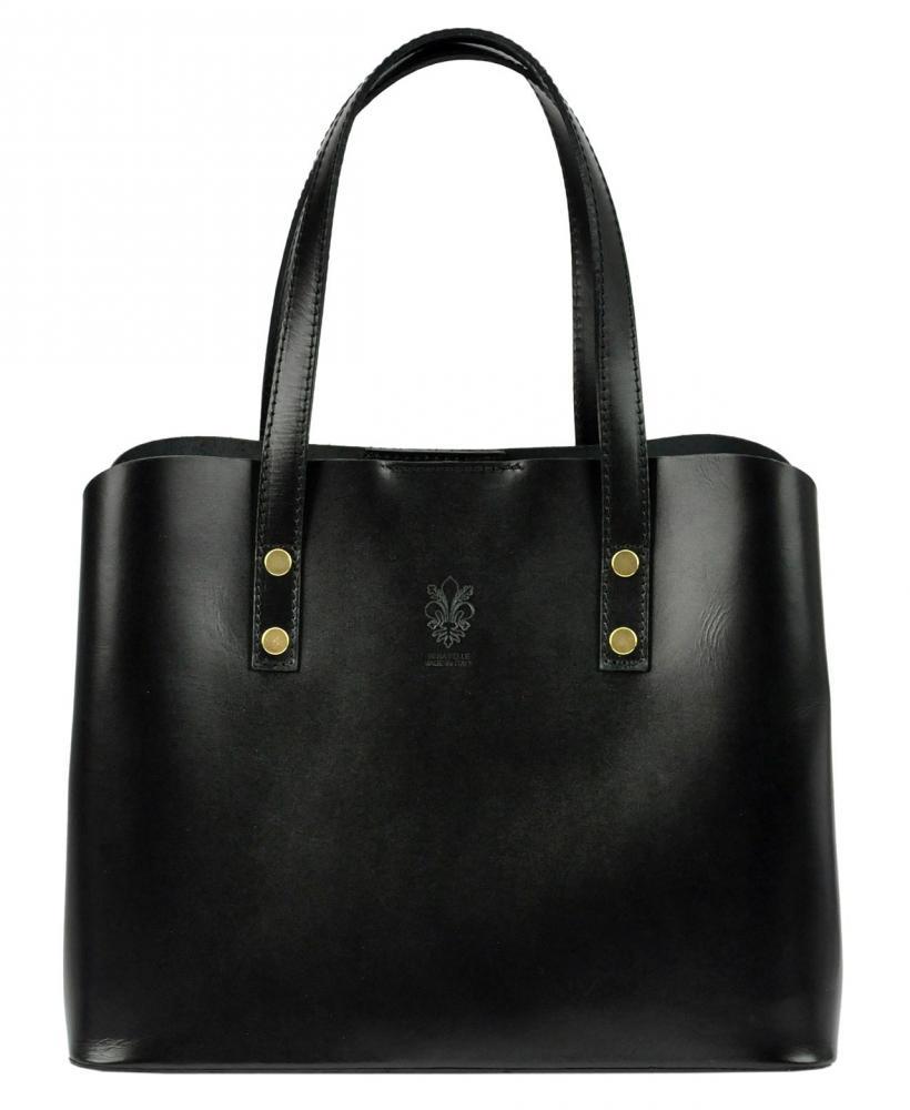 Kožená čierna dámska kabelka do ruky Florencia