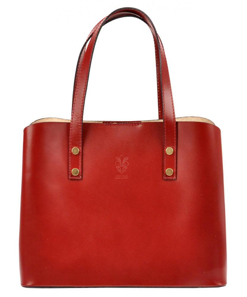 Kožená červená dámska kabelka do ruky Florencia