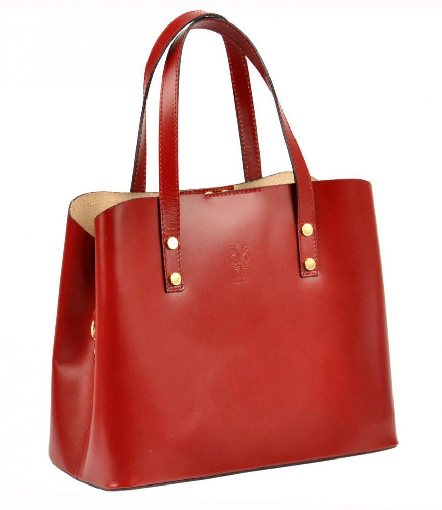 Kožená červená dámská kabelka do ruky Florencie