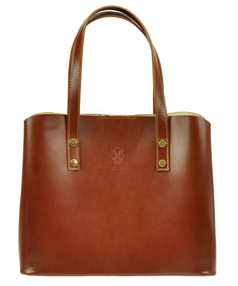 Kožená hnedá dámska kabelka do ruky Florencia