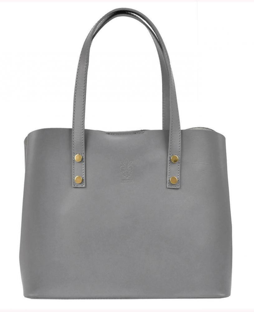 Kožená svetlo sivá dámska kabelka do ruky Florencia