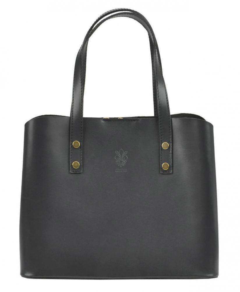 Kožená tmavě šedá dámská kabelka do ruky Florencie