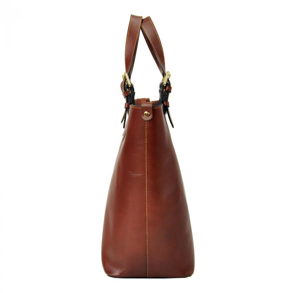 Veľká kožená čierno-hnedá dámska kabelka