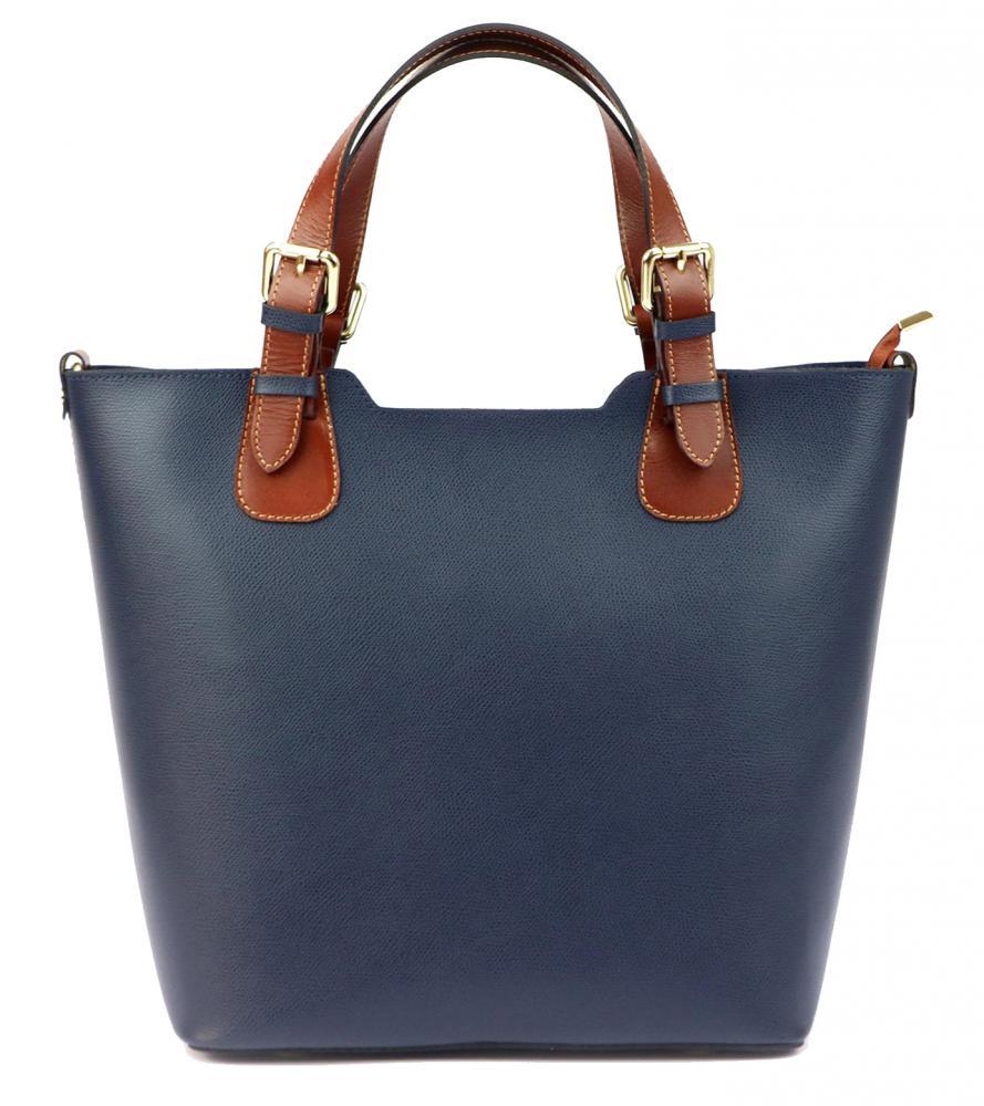 Veľká kožená modro-hnedá dámska kabelka