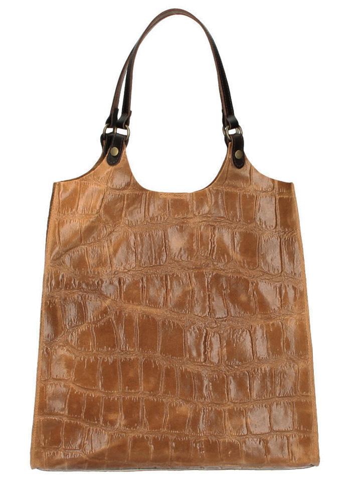 Kožená veľká dámska kabelka Ginevra hnedá