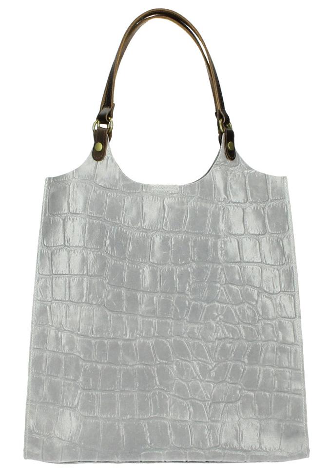 Kožená veľká dámska kabelka Ginevra sivá