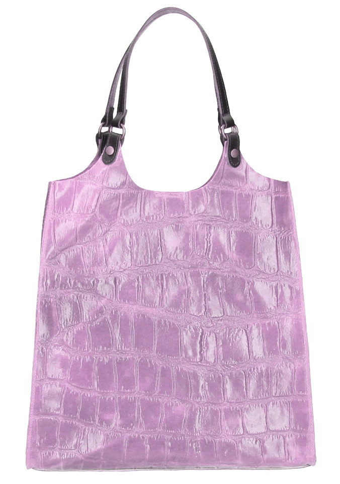 Kožená veľká dámska kabelka Ginevra lila fialová