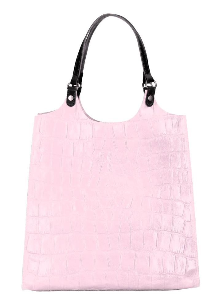 Kožená velká dámská kabelka Ginevra lila růžová