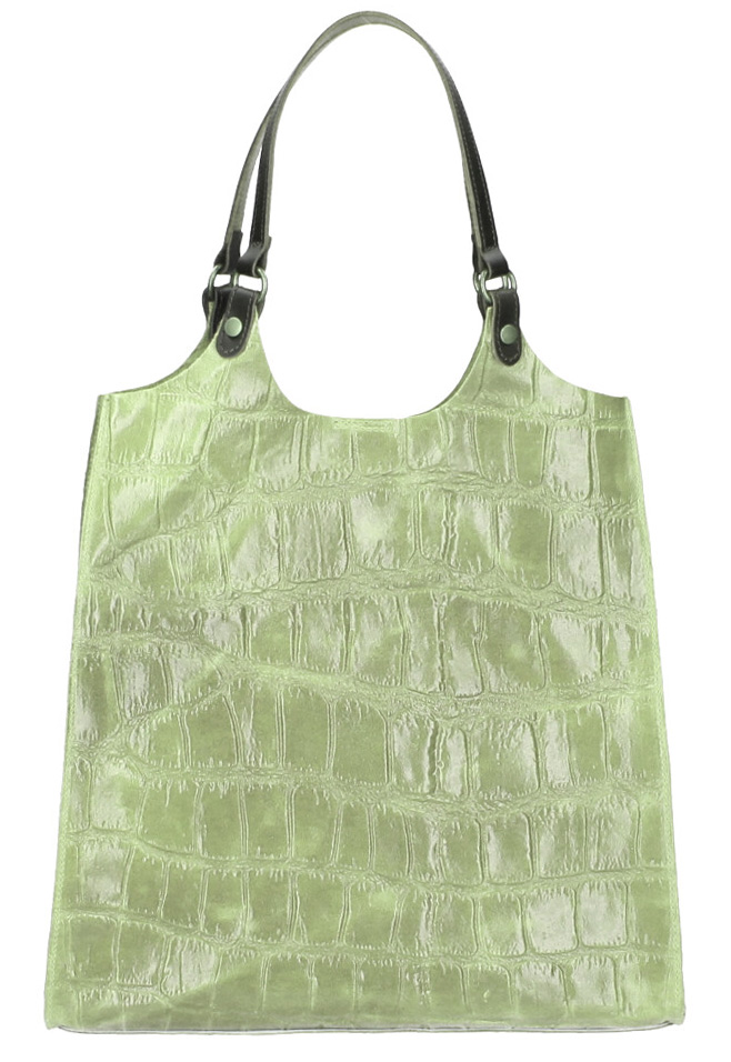 Kožená veľká dámska kabelka Ginevra mentolovo zelená