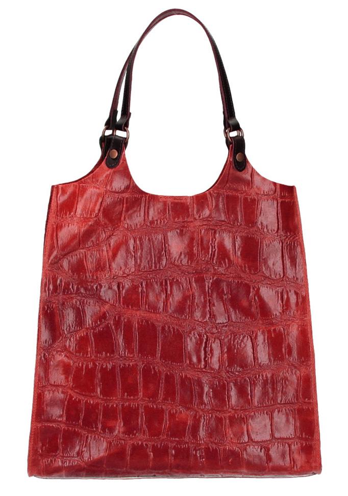 Kožená veľká dámska kabelka Ginevra červená