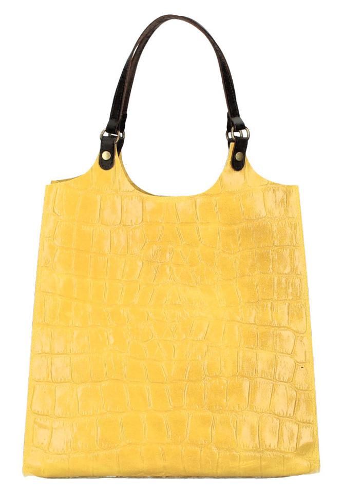 Kožená velká dámská kabelka Ginevra žlutá