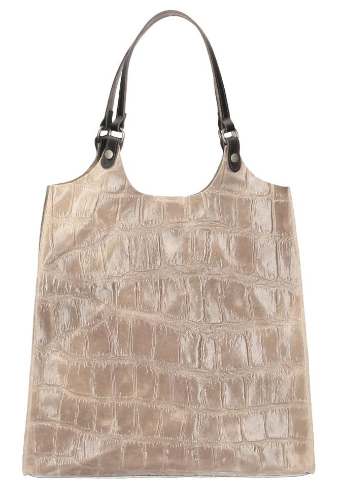 Kožená veľká dámska kabelka Ginevra prírodná hnedá